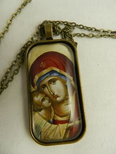 Glass tile pendant necklace with image of Theotokos, Virgin Mary and Child Jesus