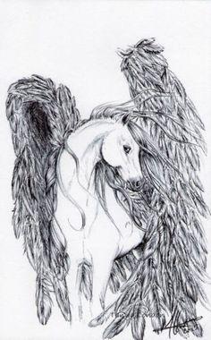 Pegasus Horse Ballpoint / Biro Pen Drawing Original ACEO Art by Tanya London Follow my work on Facebook. Www.Facebook.com/TanyaLondon.Art #Art #Fantasy #Pegasus