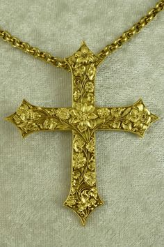 National Gallery of Art Baroque Cross Embellished w/ Flowers Pendant Necklace