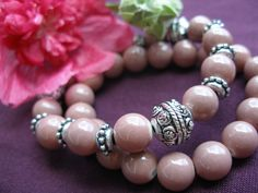 Silver & dark pink glass bracelet