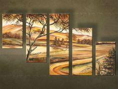 Ručne maľovaný obraz STROM 5 dielny 4066FA