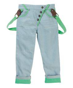 Look at this Light Blue & Green Braces Pants - Toddler & Boys on #zulily today!