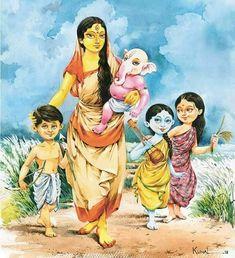 Beautiful art women water colors New ideas Shiva Art, Ganesha Art, Krishna Art, Hindu Art, Shiva Shakti, Kali Goddess, Indian Goddess, Durga Painting, Artist Painting