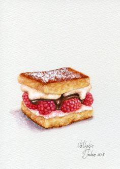 Raspberry shortcake ORIGINAL Painting Desset por ForestSpiritArt