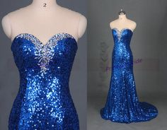 2015 long royal blue sequins prom gowns with train,chic stunning women dress for evening party,cheap sweetheart bridesmaid dresses hot.