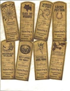 LOT OF~12 Vintage look LABELS~Halloween set #3 ~primitive labels ~