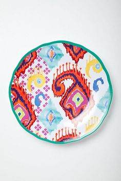 Hacienda Melamine Plate These are sold out. Look for something similar to bring to wine & jazz in the garden, drum circle in Meridian Hill park, etc. Pottery Painting, Ceramic Painting, Ceramic Art, Laundry Decor, Anthropologie Uk, Bowl Designs, Plate Design, Ceramic Pottery, Decoration