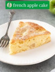 French Apple Cake is light, fluffy and studded with tender chunks of apple. There is no special equipment required -- not even a mixer! It's one of the easiest cakes you'll ever make. #cake #applerecipes #easyrecipes Easy Cupcake Recipes, Apple Cake Recipes, Homemade Cake Recipes, Baking Recipes, Dessert Recipes, Whipped Cream Desserts, French Apple Cake, Sandwiches For Lunch, Healthy Cake