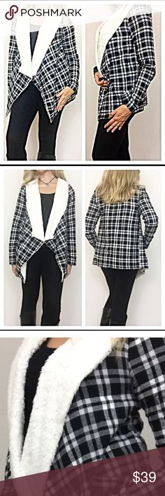 ✨SALE Fur Lined Plaid Cardi Wrap BlackWht Medium Enjoy a nice twist to your plaid in this absolutely adorable faux Shearling lined Draped Cozy Cardigan wrap. Cardi is lined with butter soft faux Fur throughout the bodice & collar (arms are not lined). Nice flowy fit to pair with leggings or jeans. Wear true to size or oversized for a more slouchy look. Black  Medium 6/8 Bust 36-38 Long length 29.5\
