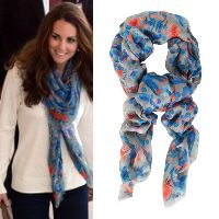 The Duchess of Cambridge was spotted wearing this lightweight Temperley London Lotus Leopard Print scarf while in transit through Brisbane Airport during the Royal Tour of South East Asia in September 19, 2012.