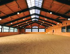 Beechwood Stables - think how lovely it would be to ride, teach or compete in this beautiful arena. I love the natural light along the centre of the peak. - by Marcus Gleysteen Architects Dream Stables, Dream Barn, Horse Stables, Horse Farms, Horse Barn Designs, Horse Arena, Horse Barn Plans, Indoor Arena, Horse Ranch