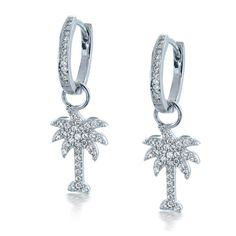 925 Sterling Silver CZ Diamond Palm Tree Huggie Dangle Earrings