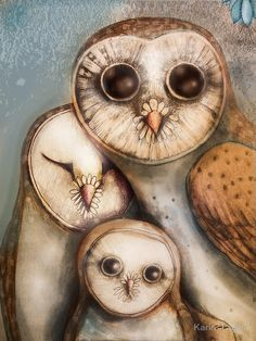 """Owls - Almost like painting on ivory.  """"three wise owls"""" by Karin Taylor   RedBubble"""