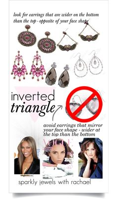 earrings for inverted triangle face shape Face Shapes, Body Shapes, Heart Shapes, Diamond Face Shape, Diamond Shapes, Inverted Triangle Fashion, Triangle Body Shape, Prom Make Up, Heart Face