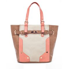 Gorgeous color combination - a vibrant coral color paired with the neutral bone and cognac colors,