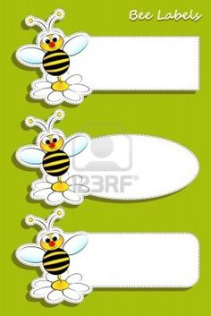 Labels With Bee, Illustration For Kids Stock Vector - Illustration of design, garden: 25964657 Bug Crafts, Crafts For Kids, Paper Crafts, Bee Template, Bee Clipart, Chevron Classroom, Spelling Bee, Bee Party, Bee Theme