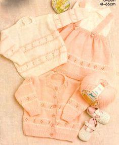 PDF Baby Child s Girl Skirt Sweater Cardigan Flower Eyelet 16 - 26 DK Knitting Pattern