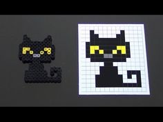 Cute Halloween Black Cat Perler Bead Pattern.  Laceys Crafts is all about sharing super simple and adorable crafts for kids. Enjoy!