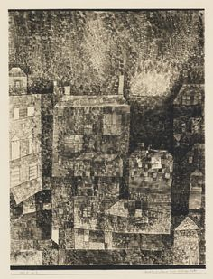 Paul Klee 1879 - 1940 NACHT-EINDRUCK EINER SÜDLICHEN STADT (NIGHT IMPRESSION OF A SOUTHERN TOWN) signed Klee (lower left); dated 1925, numbered n.3 and titled on the artist's mount watercolour and pen and ink on paper laid down on the artist's mount image size: 30 by 22.5cm., 11 3/4 by 9 3/4 in. mount size: 41 by 32.5cm., 16 1/8 by 12 3/4 in. Executed in 1925.