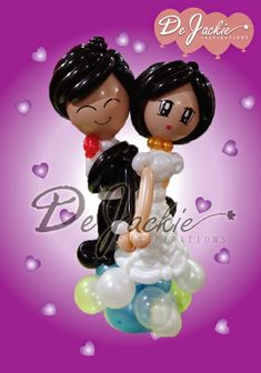 Balloon decorations for weddings, birthday parties, balloon sculptures in Kuching and Sibu, Sarawak: Miniature Balloon Wedding Couple