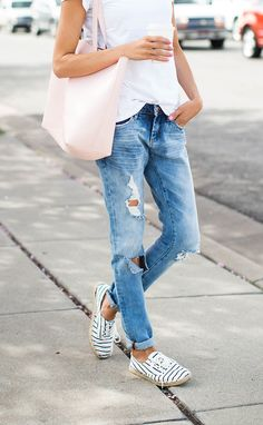 Boyfriend jeans + stripe espadrille sneakers | Hello Fashion