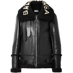 Balenciaga Le Bombardier oversized shearling jacket ❤ liked on Polyvore featuring outerwear, jackets, oversized jacket, balenciaga jacket, sheep fur jacket, balenciaga and shearling jacket