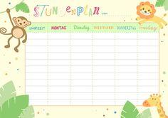 Stundenplan zum Ausdrucken für einen erfolgreichen Schulstart School Timetable, Planer, Back To School, Printables, Illustrations, Map, Free, Schedule, 1st Day Of School