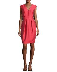 2f69e209847 Cap-Sleeve Satin Jacquard Cocktail Dress Red. Carmen Marc Valvo ...