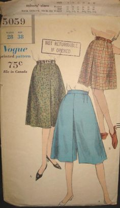 c908a3d27ae 1960s Misses Divided Skirt Golf Skirt Culottes by kinseysue Modern Sewing  Patterns