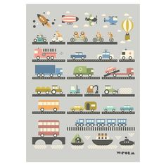Voertuigen Poster voor je #jongenskamer | Gras onder je voeten. Kinderkamer auto trein bus