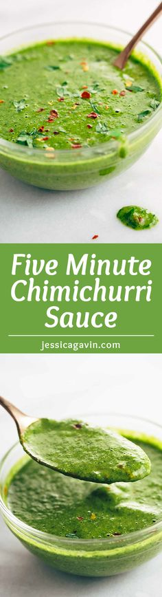Five Minute Chimichurri Sauce Recipe - The ultimate flavor booster made in your blender! Add on top of your favorite meat and vegetables.   jessicagavin.com
