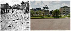 I genieri del  342i General Service Regiment aprono una breccia con esplosivi nella parete della vasca costruita dai tedeschi tra Place Napoleone e la spiaggia su questo sito,l'esplosione 29 giugno 1944. Cherbourg-Octeville #NORMANDIA1944