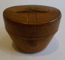 Antique Novelty Leather Covered Travel Inkwell - Top Hat Box or Bucket c.1890