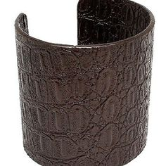 Chocolate brown faux leather cuffed bracelet.