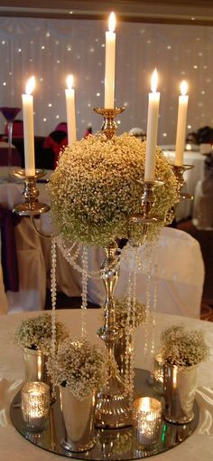 Candelabra with gypsophila