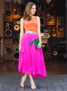 Inspired By: Beyoncé's Pink & Orange, color blocking, pink skirt, orange, celebrity style inspiration