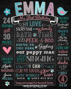 He encontrado este interesante anuncio de Etsy en https://www.etsy.com/es/listing/231993566/1st-birthday-chalkboard-poster-with