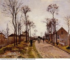 Camille Pissarro » The road to saint cyr at louveciennes