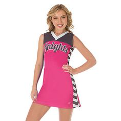Cheerleader wearing a Cheerleading Company CC Fusion Sublimated Uniform High School Cheer, High School Dance, School Dances, Cheerleading Company, Cheerleading Uniforms, Cheer Uniforms, Dance Uniforms, Pink Out, Mesh Material