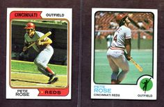 Lot of (2) 1973 Topps #130 Pete Rose and 1974 Topps #300 Pete Rose