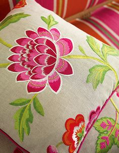 Manuel Canovas - New Collection Broderte lekre tekstiler www. Thread Painting, Fabric Painting, Drapery Fabric, Fabric Sofa, Curtains, Graph Paper Art, Textiles, Everything Pink, Vintage Chairs