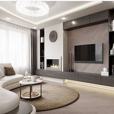 34 Excellent Contemporary Living Room Decor Idea Try for You - Living Room Design Home Fireplace, Living Room With Fireplace, Off Center Fireplace, Bedroom Fireplace, Living Room Tv, Living Room Interior, Living Room Modern, Contemporary Living Room Designs, Neutral Living Rooms