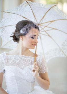 Small birdcage veil with crystals bridal bandeau by JoyandFelicity