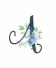 Monogram Wallpaper, Alphabet Wallpaper, Monogram Design, Monogram Letters, Watercolor Lettering, Hand Lettering, Blue Flower Wallpaper, Illustration Blume, Stylish Alphabets
