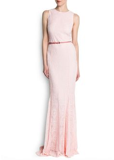 MANGO - NEW - Belted embroidered tulle gown