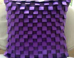 Luxo Roxa Capas De Almofada, 40x40 cm Faux Suede Fronha, Quadrado Nervature E Fita Loops Almofadas Tampa - Purple Harmony