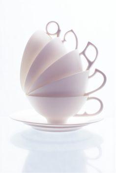 Exquisite cup(s) & saucer (2008) by Japanese ceramic artist Ryota Aoki. Photo by Tadayuki Minamoto. via the artist's site