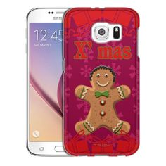 Samsung Galaxy S6 Xmas Gingerbread Man on Red Trans Case