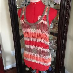 Guess fishnet tank top Beach ready fishnet tank top in a fun color mix of taupe, cream, coral and orange. Perfect for swimsuit cover up or layer it with a cami or bralette. Size large but would be versatile for smaller frames due to style.(016) Guess Tops Tank Tops