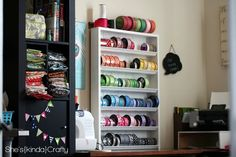 I am so over the moon excited about my new Ribbon Storage Shelf! Once again, I have to thank Pinterest for pointing me in the perfect direction - right to {capture the moment}! (my PSA about {capture the moment} is that you are going to spend a LOT of time on the site going through the endless...
